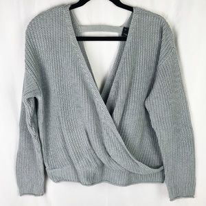 Moon & Madison Light Grey Open Back Sweater NWOT